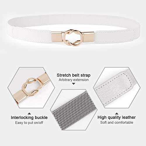 JasGood 4 Stück Gürtel für Kleid Gürtel Damen Stilvoll Gürtel mit Einfacher Stil Einzigartig Design Damengürtel Elegant und Modisch für Kurzer & Langer Rock Kleid
