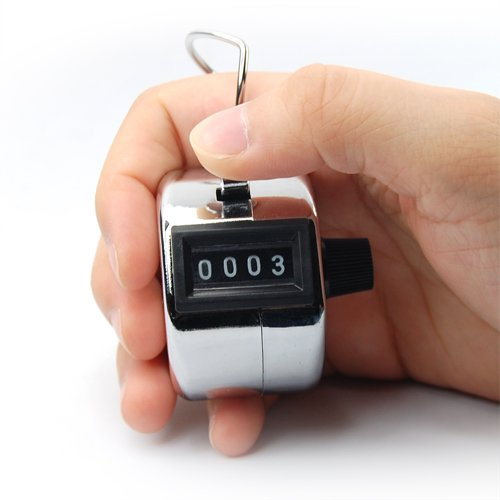 TOOGOO 4 Digit Number Clicker Golf Hand Tally Click Counter Silver