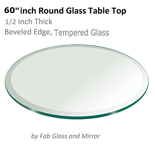 60'' Inch Round Glass Table Top 1/2'' Thick Tempered Beveled Edge by Fab Glass and Mirror by Fab Glass and Mirror