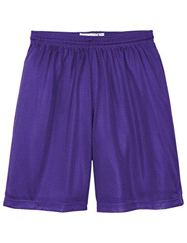 Hat and Beyond IH Men Mesh Shorts with Pockets Lightweight Plain Basketball Workout Jersey Fitness Gym (Medium/4-5, 5ih01_Purple)