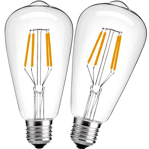 Nakital E26 LED Bulb 40watt Equivalent, LED Edison Bulb Warm White 2700K 600Lm, E26 Led Edison Bulb Vintage light bulbs Soft White Antique Base, Non dimmable, Led Filament Bulb Clear Glass (2Packs)