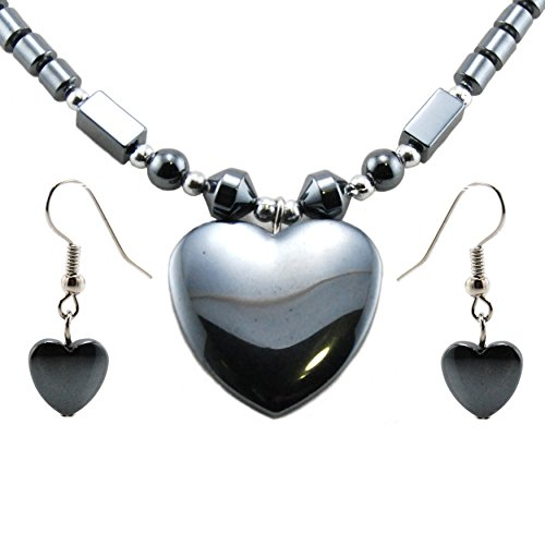 BlueRica Hematite Heart Pendant Necklace/Earring Set