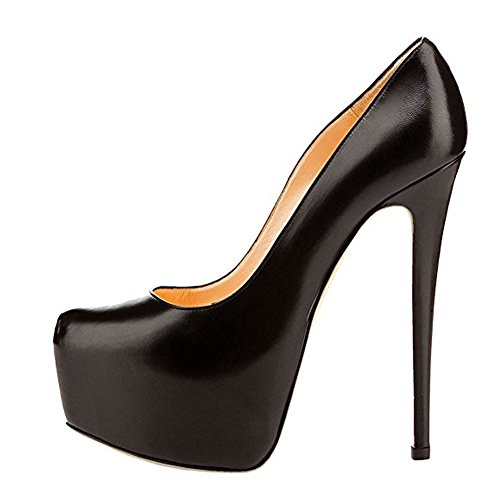 Onlymaker Womens Sexy Platform High Heels Slip On Pointed Toe Stiletto Party Dress Pump Black PU 7 M -