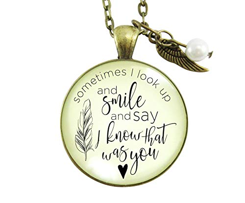 "Gutsy Goodness 24"" Memorial Necklace Sometimes Times I Look Up Miss You Remembrance Gift"