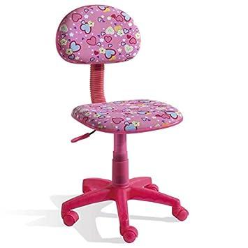 Pegane Chaise Bureau Enfant Rose Motif Cœurs Dim 77 X 43 X 50 Cm
