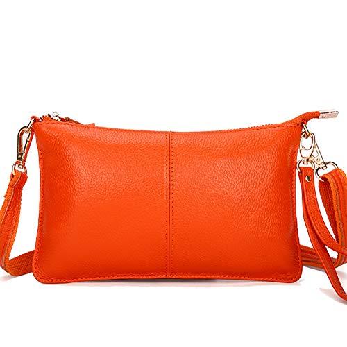 Purse Wallet Leather Cell Bag Zipper Small Simple Black Women Pocket Classic Shoulder Cow Phone Crossbody Orange Bag qx8Hq6zw