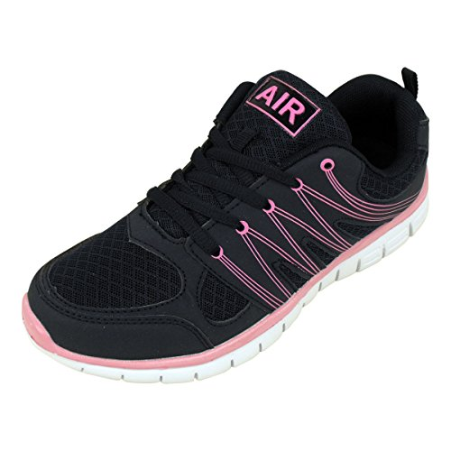Womens Shock Absorbing Girls Running Trainers Jogging Gym Fitness Trainer Shoe Navy / Pink jcJTwpV