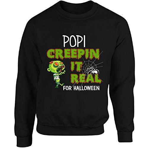 Popis Costume (Funny Halloween For Popi Creepin It Real Costume - Adult Sweatshirt L Black)