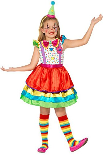 Clown Girl Costumes 46 (Smiffy's Children's Deluxe Clown Girl Costume,  Dress and Hat, Ages 4-6, Size: Small, Color: Multi, 45250)
