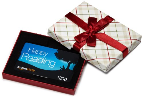 - Amazon.com $200 Gift Card in a Plaid Gift Box (Amazon Kindle Card Design)