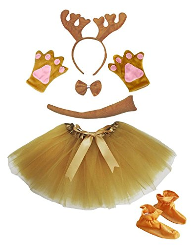(Petitebella Headband Bowtie Tail Gloves Skirt Shoes 6pc Girl Costume (Brown)