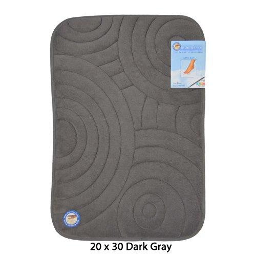 Seventeen Rug Swirls (Dark Gray Memory Foam Bath Mat/area rug: Non-skid, Absorbent, 17 X 24 or 20 X 30 (Circle Swirl, 20x30))