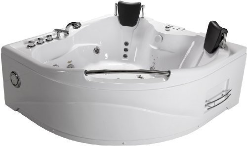 - 2 Two Person White Massage Whirlpool White Corner Bathtub Tub, with Shower Wand