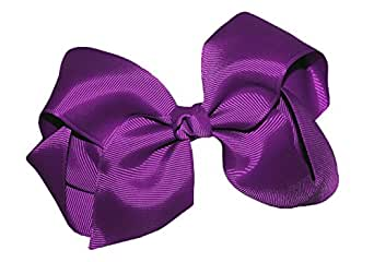 WD2U Extra Large GrosGrain Knot Hair Bow Alligator Clip Purple 1092A