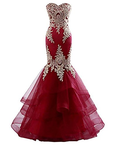 Dress Satin Backless Prom Long Embroidery Women Bridal Sleeveless LiCheng Burgundy Dresses Evening Tulle Formal with Mermaid for T8qOPwtFP