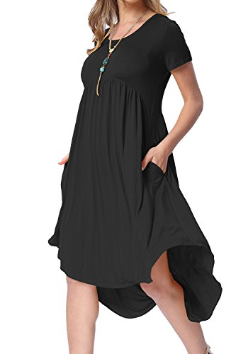 levaca Women Summer Knit Short Sleeve Pockets Swing Casual Shift Dress Black -