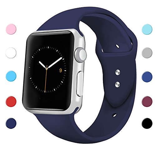 Sport Band for Apple Watch 42mm 38mm, Soft Silicone Sport Strap Replacement Bands for iWatch Apple Watch Series 3, Series 2, Series 1 38mm Midnight Blue Small