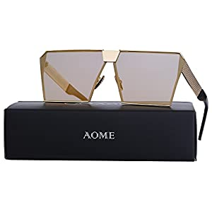 AOME Oversized Flat Top Sunglasses Square Metal Frame Mirrored Sunglasses (Gold&Gold, 2.0)