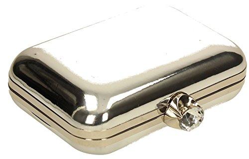 Ladies Clutch Patent Clutch Camilla Womens Party Metallic Leather Wedding SWANKYSWANS Bag Silver Prom Box 1qUSwz
