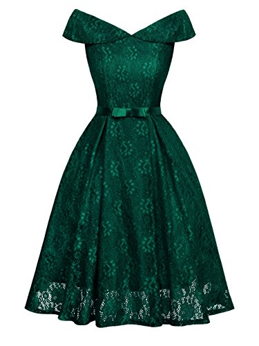FAIRY COUPLE Women's Off The Shoulder Lace Vintage Wedding Party Cocktail Dress -