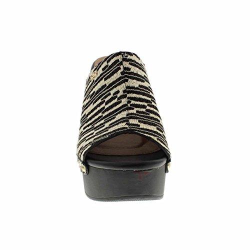Moca Talon Haut Femme Décontracté Toe / W Multicolore Tissu Design Madden-88 Noir
