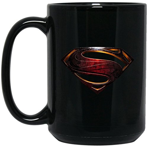 (Superman Coffee Mug S Shield House Of El Logo Mug 15 oz Black Ceramic Cup Great for Hot Chocolate and Tea Cal El Clark Kent Justice Perfect Gift For Any Superman Comic Book or Justice League Fan)