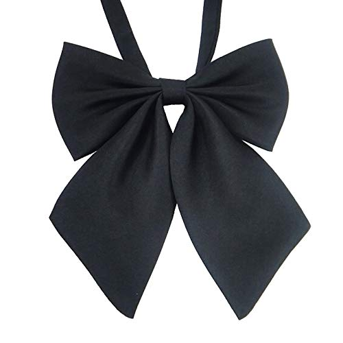 (Ladies Adjustable Pre tied Bowtie - Solid Color Bow Ties for Women (Black)