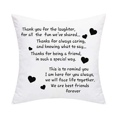 BLEUM CADE We are Best Friends Forever Friends Throw Pillow Cover Best Gifts to Friends Sister Cushion Cover Decorative Pillowcase for Sofa Car Home Office -