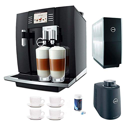 Jura Giga 5 Cappuccino & Latte Macchiato System + Jura Cup Warmer Black Stainless Steel and Jura Cool Control Milk Cooler + Accessory Kit (Black)