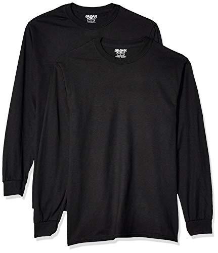 Gildan Men's DryBlend Adult Long Sleeve T-Shirt, 2-Pack, Black, Medium