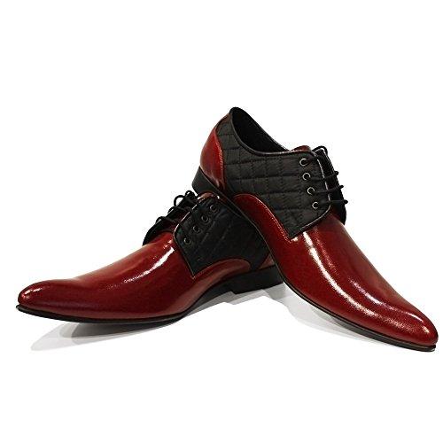 PeppeShoes Modello Tonado - Handmade Italiano da Uomo in Pelle Borgogna Scarpe da Sera - Vacchetta Pelle di Brevetto - Allacciare