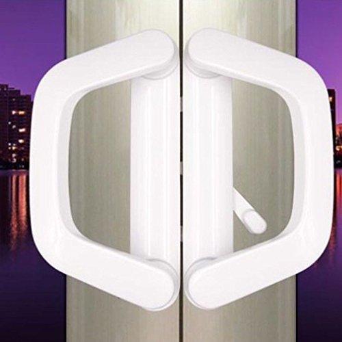 HomDSim Mortise Lock Double Docking Lock Sliding Glass Lock Wardrobe Door Kitchen Handle Locks Door Hardware, White, Keyed(White)