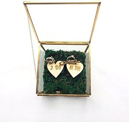 I Do Me Too - Caja de cristal rústica para anillos de boda, caja ...