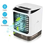 Portable Air Conditioner Fan, 3 in 1 Mini Personal Air Conditioner, Humidifier Purifier & Evaporative Desktop Cooling Fan, Personal Air Cooler Table Fan for Home Bedroom Office Without Remote Control