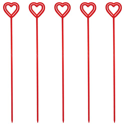 Royer 12 Inch Plastic Heart Valentine's Day Floral Picks, Card Holders, Set of 100 (Transparent Red) - Made In USA ()