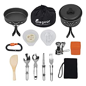 Bisgear 16 Pcs Camping Cookware Stove Carabiner Folding Spork Set Outdoor Camping Hiking Backpacking Non-Stick Cooking…
