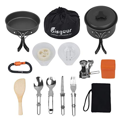 16pcs Camping Cookware Stove Carabiner Folding Spork Set Bisgear(TM) Outdoor Camping Hiking Backpacking Non-stick Cooking Non-stick Picnic Bowl Pot Pan , Folding Spork , Mini Stove with Piezo Ignition ()