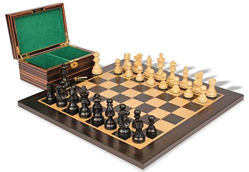 - French Lardy Staunton Chess Set Ebonized & Boxwood Pieces with Macassar Ebony Board & Box - 3.25