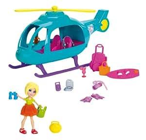 Mattel Y0972 Polly Pocket - Helicóptero de vacaciones con muñeca y accesorios