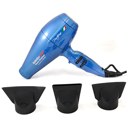 nano titanium - 41BxFX5zMVL - Nano Titanium Portofino 2000 Watts Full-Size Hair Dryer Bonus 3 concentrator nozzles and diffuser included (Blue)