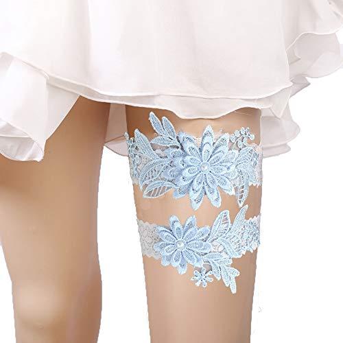 (Lace Garter Set Wedding Garter Belt Flower Floral Design Garter for Bride)