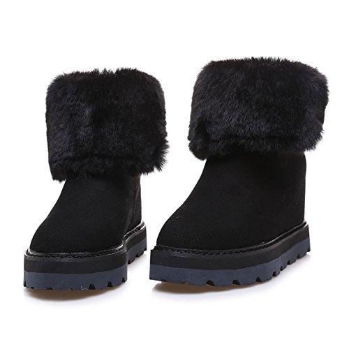Boots Fur Snow Ankle Faux Comfort Warm Lined Hidden Shorty Frestepvie Heel Winter Black Women's Boots qwFgxS