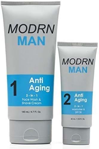 MODRN MAN Anti Aging Skin Care Set For Men   Ultimate Combination Men's Face Wash & Shaving Cream   Premium All-in-One Men's Anti Aging Moisturizer Cream with SPF 30