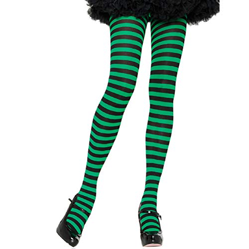 Leg Avenue Women's Nylon Striped Tights, Black/Kel Gr, O/S -