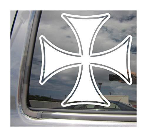 (Right Now Decals - Maltese Iron Cross - Prussia Cars Trucks Moped Helmet Hard Hat Auto Automotive Craft Laptop Vinyl Decal Window Wall Sticker)