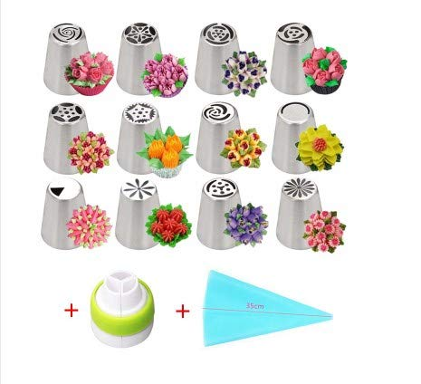 Daisy 14Pcs/Set Stainless Steel Russian Icing Piping Nozzles Tulip Rose Nozzles for Cake Cupcake Decorating Flower Cream Nozzles Pastry Tips