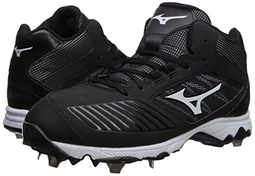 Mizuno Women's 9-Spike Advanced Sweep 4 Mid Metal Softball Cleat Shoe, Black/White 7.5 B US by Mizuno (Image #5)