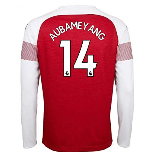 Arsenal Home 18/19 Aubameyang 14 Jersey Color red Long Sleeve Size M Arsenal Home Long Sleeve