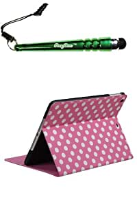 FoxyCase(TM) FREE stylus AND APPLE iPad Air White Polka Dots Pink Frosted MyJacket (with Tray and Card Slot) (786) Package) Best beautiful pocketbook, wallet, pouch cas couverture