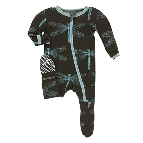 Kickee Pants Little Boys and Girls Print Footie with Zipper - Giant Dragonfly, 3-6 Months